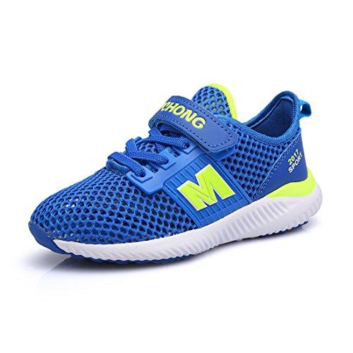 JTENGYAO Jungen Mädchen Laufschuhe Sportschuhe Netzschuhe Turnschuhe für Kinder Blau