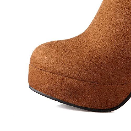 AgooLar Damen Niedrig-Spitze Reißverschluss Mattglasbirne Rund Zehe Stiefel mit Schnalle Braun