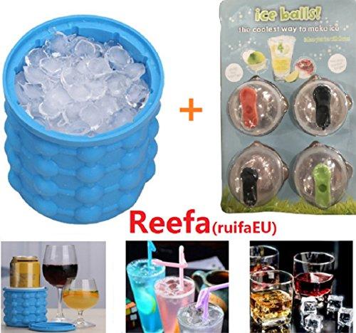 Reefa Eis Genie Cube Maker Eiskübel Silikon Eiswürfel Formen platzsparende Eiswürfelbereiter Sommer Home Party Eiswürfel Schalen GefäßKühler für Wein Bier (Blau)