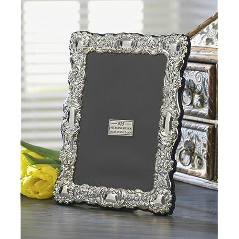 Decorative, Fine, in argento Sterling, con motivo floreale, Design di zebra. 925. Frame. gift. Hallmark-Completo di confezione regalo in 3 taglie., 17,8 x 12,7 cm