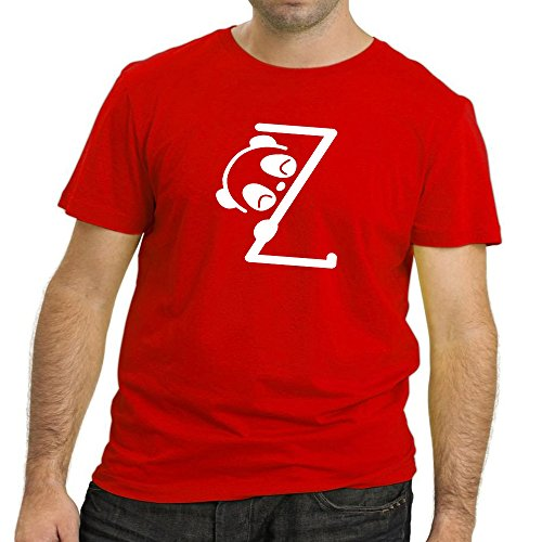 Heyuze Designer Printed Premium Quality 100% Cotton Half Sleeve Male / Men Round Neck Red T Shirt with Initial Letter Alphabet Z Panda Design