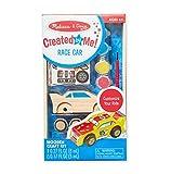 Salut Maman - Kinder Holz-Auto Bastel-Set mit Rennwagen, 4 Rädern, 25 Aufklebern, Pinsel und Farbe, 22 x 13 x 4cm, Blau