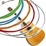 #5: amiciKart 6 pcs New Set Rainbow Multi Color Acoustic Guitar Strings Stainless Steel Alloy