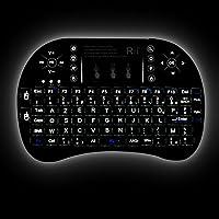 Rii Mini i8+ Wireless (AZERTY) - Mini Clavier Française Rétro-éclairé Ergonomique sans Fil avec Touchpad - Pour Smart TV, mini PC, HTPC, Console, Ordinateur (Noir)