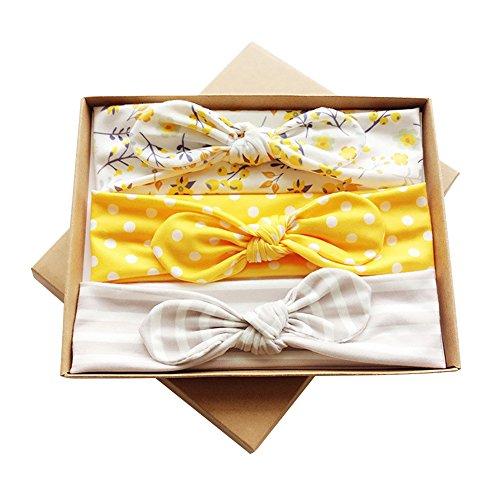 COUXILY 3 stk Boutique Qualität Baby Mädchen Haar Bogen Haar Bands Elastische Stirnbänder Babygeschenke Taufe Geschenksets (G08) -