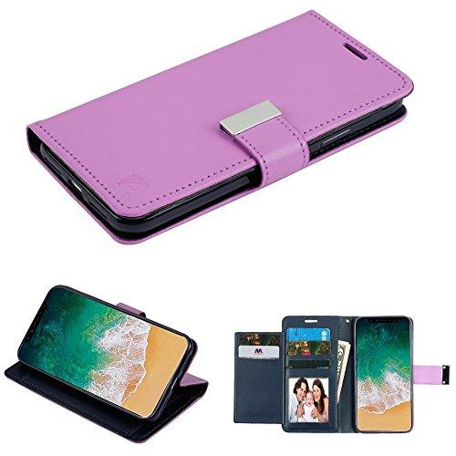 Fall + temperedglass Passt Apple iPhone X/10MYBAT 3-lagige Geldbörse/Kupplung mit Extra Kartenfächer PU Leder MyJacket Brieftasche-Lila/Dunkelblau -