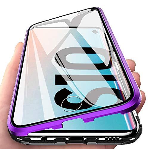 Eabhulie Galaxy S10 Hülle, Vollbildabdeckung Gehärtetem Glas mit Magnetischer Adsorptionskasten Metall Rahmen 360 Grad Komplett Schutzhülle für Samsung Galaxy S10 Lila Schwarz