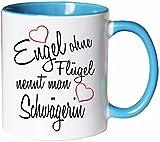 Mister Merchandise Kaffeebecher Tasse Engel ohne Flügel nennt man Schwägerin Hochzeit Bruder Heirat Geschenk Weihnachten Teetasse Becher Weiß-Hellblau