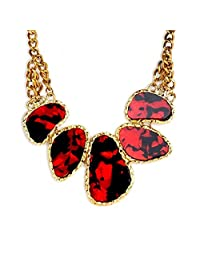 Red Leopard Print Collar Necklace By Crunchy Fashion