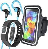 Fontastic 040085 3teili Fitness-Set, Fitness-Tracker, Sport-Armcase, Bluetooth-Kopfhörer