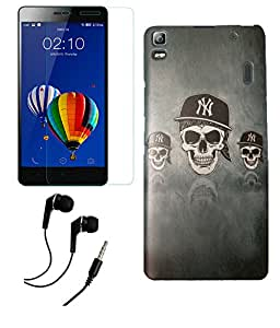 Lenovo K3 Note MOCELL Printed Design Back Case Cover With Tempered Glass Screen Protector & 3.5mm Super Sound Quality Earphone with Mic Combo