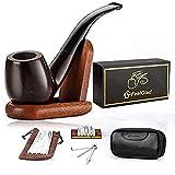 FeelGlad - Set di pipa per tabacco in ebano, con porta tabacco in pelle, supporto in legno e accessori per affumicatura