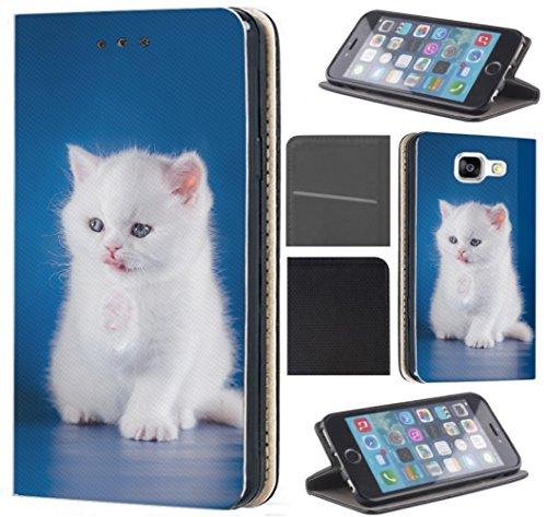 CoverFix Premium Hülle für Samsung Galaxy S4 / S4 Neo Flip Cover Schutzhülle Kunstleder Flip Case Motiv (1343 Baby Katze Kätzchen Tier Cat Weiß Blau) Samsung Galaxy S4 Cat Flip Case