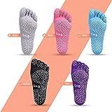 GHB Pilates Socken mit Zehen Rutschfeste Sportsocken mit Gummisohlen Atmungsaktivität ideal für Yoga Tanz Fitness von Größe 36 bis 42 (Verpackung MEHRWEG)