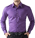 Fashion Einfarbig Hemd Lange aerme Violett Super Modern Herren Hemd Größe S CL5252-6
