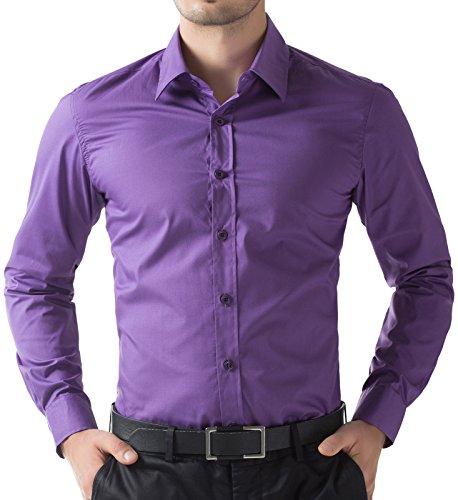 Fashion Einfarbig Hemd Lange aerme Violett Super Modern Herren Hemd Größe S CL5252-6 (Casual-oxford-hemden)