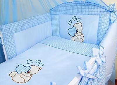 Ropa de cama para cuna de bebé, 100% algodón, conjunto completo de 3piezas con funda de edredón, funda de almohada y protector de cuna, diseño bordado de osito azul azul Talla:120x60cm