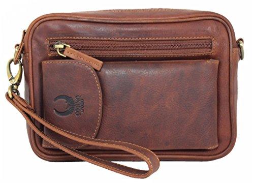 Handgelenktasche Leder Herren-handtasche Herrentasche Leder-tasche kleine Umhängetasche für Herren Damen Travel Organizer mit Handyfach vintage braun aus Echt-Leder von Corno d´Oro 2001T