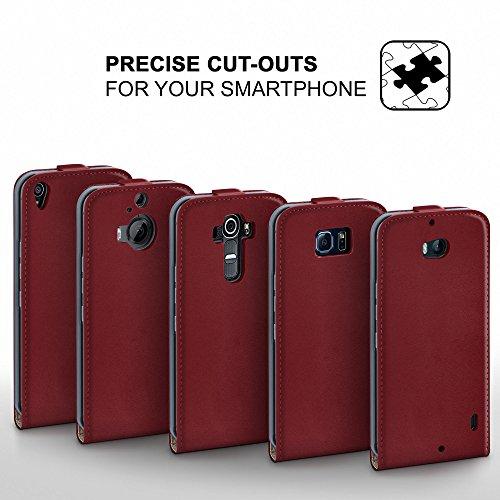 iPhone 4S Hülle Schwarz [OneFlow 360° Klapp-Hülle] Etui thin Handytasche Dünn Handyhülle für iPhone 4/4S Case Flip Cover Schutzhülle Kunst-Leder Tasche MAROON-RED