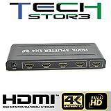 TECH STOR3 HDMI Splitter 4K 1x4 ULTRA HD 2160P Dolby True HD UHD 3D, Distributore HDMI incl. alimentatore immagine