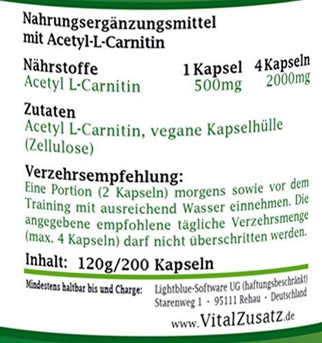 Acetyl-L-Carnitin – 200 Vegi-Kapseln – je 500mg – ALC – ohne Zusatzstoffe – Dr. Bawareg