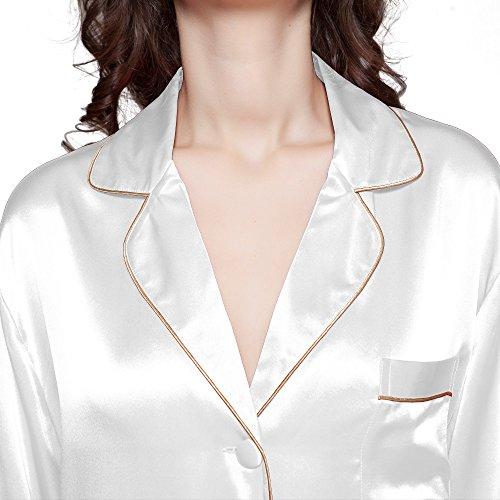 Lilysilk Seide Elegant Nachthemd Nachtshirt Damen Langarm 22 Momme Weiß