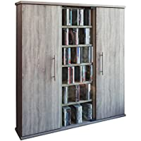 VCM Santo - Torre para CD/DVD, para 450 CDs, efecto corte de sierra, color roble Sonoma