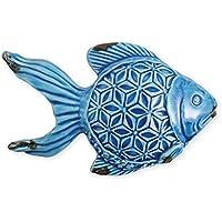 Villa d'Este Home Tivoli 2407967 Marine Statua Pesce, Ceramica, Blu