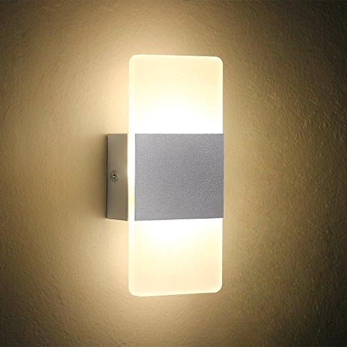 LED Wandleuchte Nachttisch Wandleuchte, Oenbopo Moderne Acryl LED Schlafzimmer Flur Bad Wandleuchten Leuchte Dekorative Nachtlicht für Weg Schlafzimmer, Küche, Esszimmer, Balkon (weiß) (Acryl-nachttisch)
