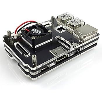 Mepro Raspberry Pi 3 Model B und Raspberry Pi 2 Model B Acrylic Enclosure Gehäuse With Fan Black