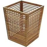 Waste Bin Basket Paper Bin, Made of Natural Bamboo Wood