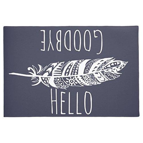 Hello Goodbye Fußmatte weiß Tribal Feder Fußmatte 60x 40cm Rutschfest waschbar Eingang Way Teppich Home Vorderseite Fußmatte