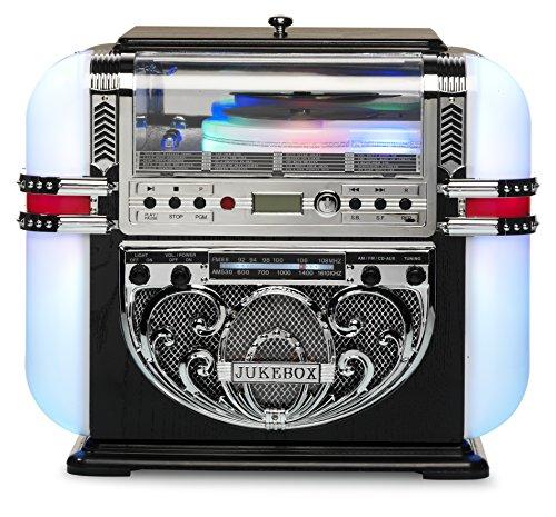 Ricatech RR700 - Berlin - 5 couleurs LED Tabletop Retro Mini Jukebox | Lecteur CD avec haut-parleurs stéréo intégrés, Radio AM/FM et Line-in