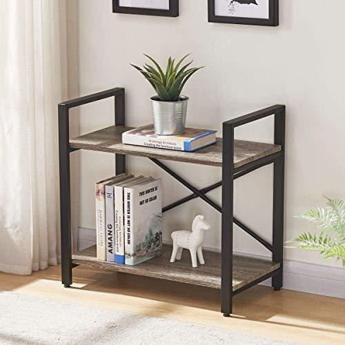 2 Regal Bücherregal Eiche (Bücherregal, 2-4 Regalböden, Vintage Industrie, Holz und Metall, schmales Bücherregal, Mehrzweck-Ablage, dunkle Eiche 2-Tier dunkle Eiche)