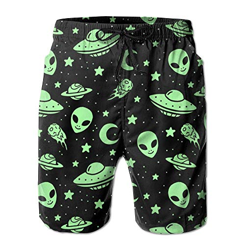 Men's Quick Dry Graphic Green Aliens and Spaceships UFO Pattern Beach Short Pants (XL)