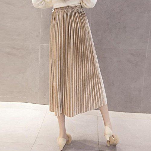 QIYUN.Z Les Femmes Décontractées Plissées Pleine Taille Haute Jupe Mi-Longue En Velours Métallisé Abricot