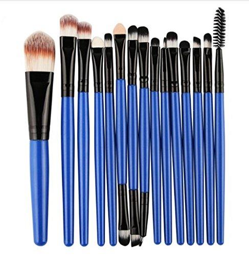 Eouine 15 Pièces Pinceaux Maquillage,Professionnel Makeup Brushes Visage Maquillage Brosse Kit de beauté Outils pour Sourcils, Yeux, Joues (Bleu Noir)