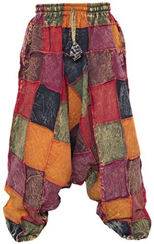 Little Kathmandu pantalones diseño holgado hippie de algodón para hombre Aladín multicolor Thick Patch Harem M