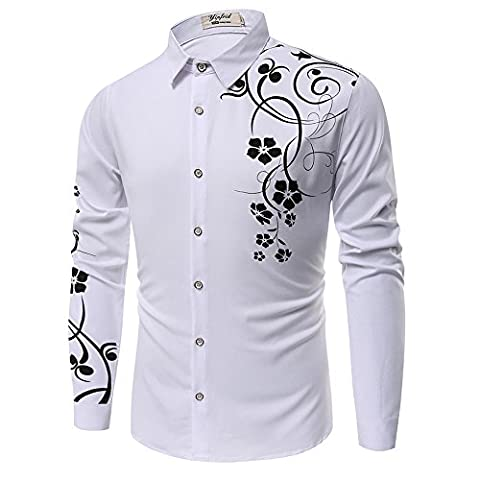 PIZZ ANNU Men's 3D Fashion Printed Long-sleeved Shirt (L, White)