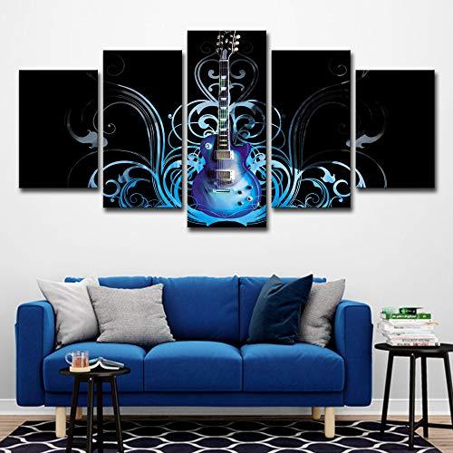 Hd Moderne Gedruckt Wohnkultur Gemälde Poster 5 Panel Musikinstrument Gitarren Tableau Wand Leinwand Kunst Modulare Bilder kein rahmen M: 10X15-2P10X20-2P10X25-1P