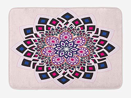 VTXWL Flower Bath Mat, Vintage Hand Drawn Floral Motif Ornamental Petals with Square Shapes Antique Design, Plush Bathroom Decor Mat with Non Slip Backing, 23.6 W X 15.7 W Inches, Multicolor Petal Crown Flower Shape