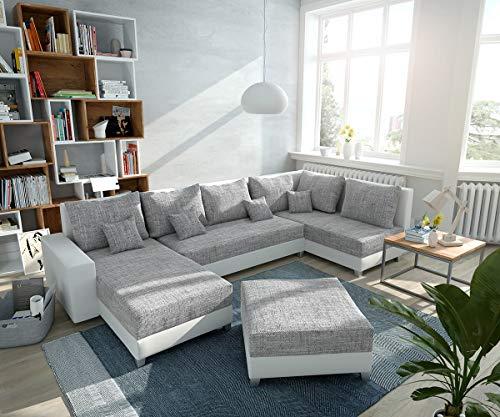 DELIFE Couch Panama Hellgrau Weiss Ottomane rechts Longchair Links Hocker Wohnlandschaft