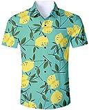 Goodstoworld Hawaiihemd Herren Hemd Grün Zitrone Kurzarm Slim Fit Trachtenhemd für Männer Hemden Modern Fit 3D Druck