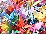 Hangnuo Lot de 50 grues en papier, origami, fil de soie inclus, pour décoration festive, Mélange de couleurs