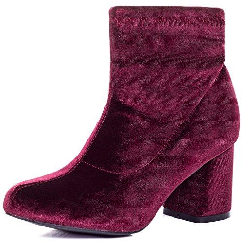 SPYLOVEBUY PALATIAL Femmes à Talon Bloc Bottines Chaussures Rouge - Simili Velours