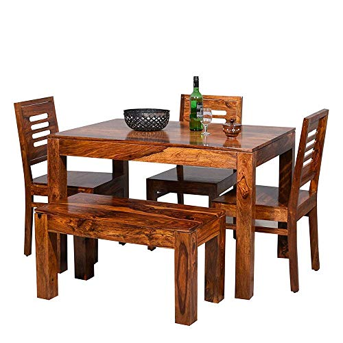 Corazzin Furniture Sheesham Wood 4 Seater Dining Table with 3 Chairs and 1 Bench (Natural Honey)