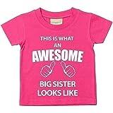 Dieses ist Was Eine Prima Big Sister Looks Mag Pink T-shirt Baby Kleinkind Kinder Verfügbar in Größen 0-6 Monate wird 14-15 Jahre Neu Baby Schwester Geschenk - Rosa, 110-116