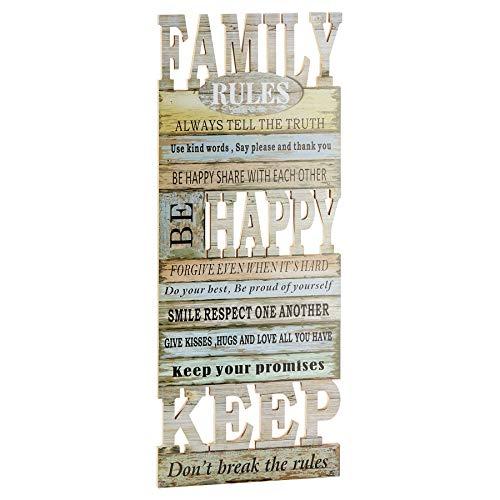 Preis am Stiel Holzbild ''Rules'' Family | Wandbild | Holzschild | Deko Bild