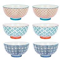 "Nicola Spring Patterned Rice/Dessert Bowls - 114mm (4.5"") - Box of 6 Individual Designs"
