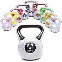 Kettlebell »PowerMonster« pesa esférica de entre 2 y 20kg / Pesa de mano de plástico / Calidad de gimnasios de alto rendimiento ideal para entrenamiento de fuerza, entrenamiento funcional, gimnasia y ejercicios en casa / 20kg / negro